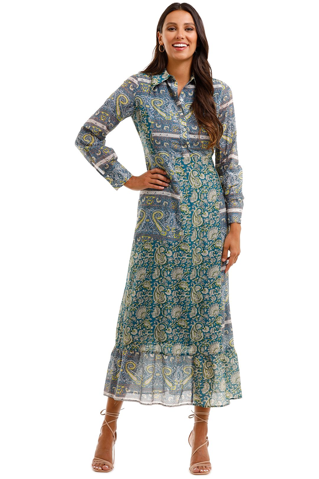 Antik Batik Kheti Printed Voile Midi Dress