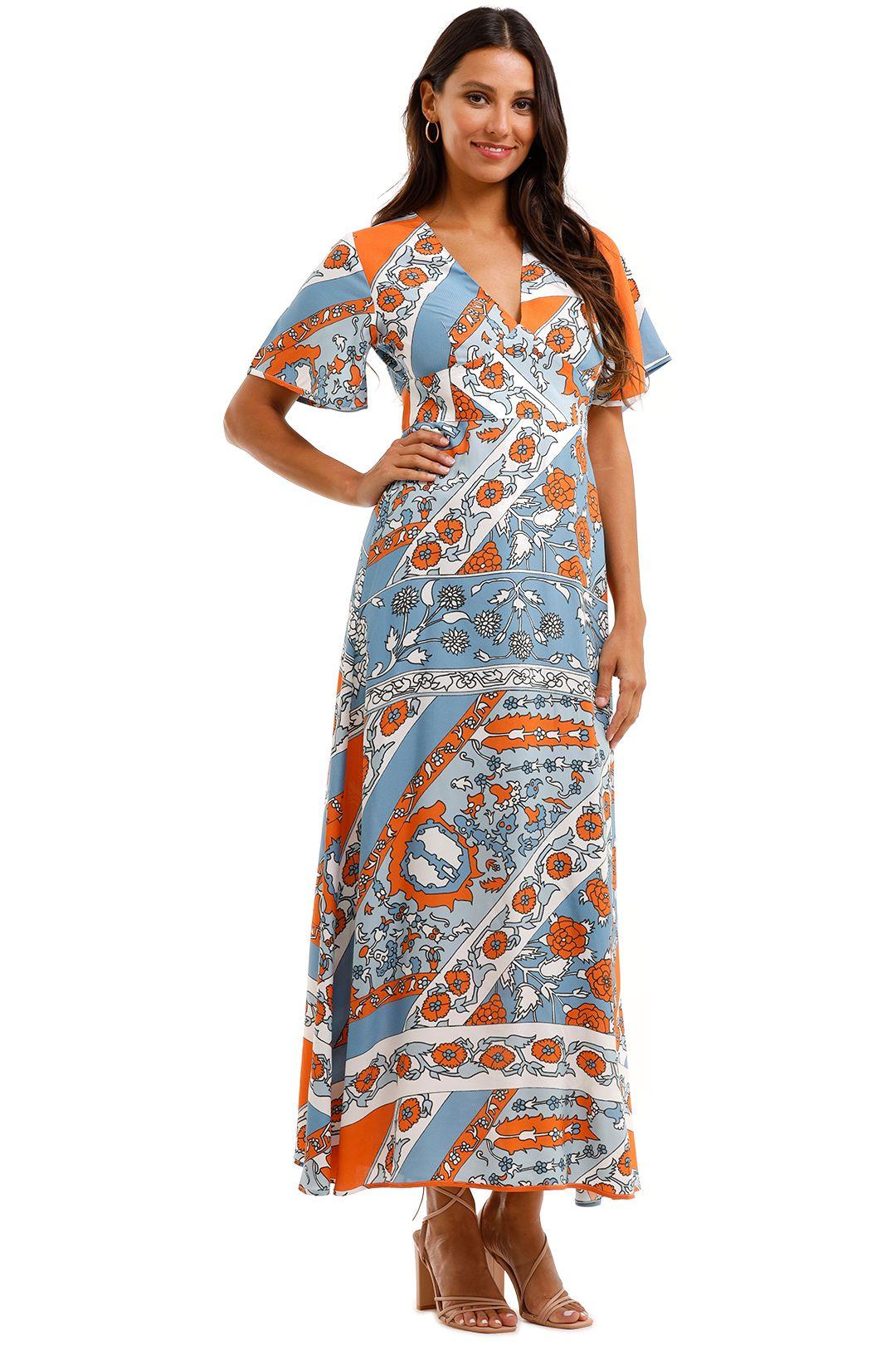 Antik Batik Leandra Floral Print Jacquard Maxi Flare Sleeve