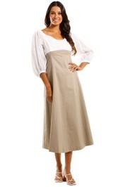 Apartment Clothing Cotton Drill Dress White Sage Colour Block