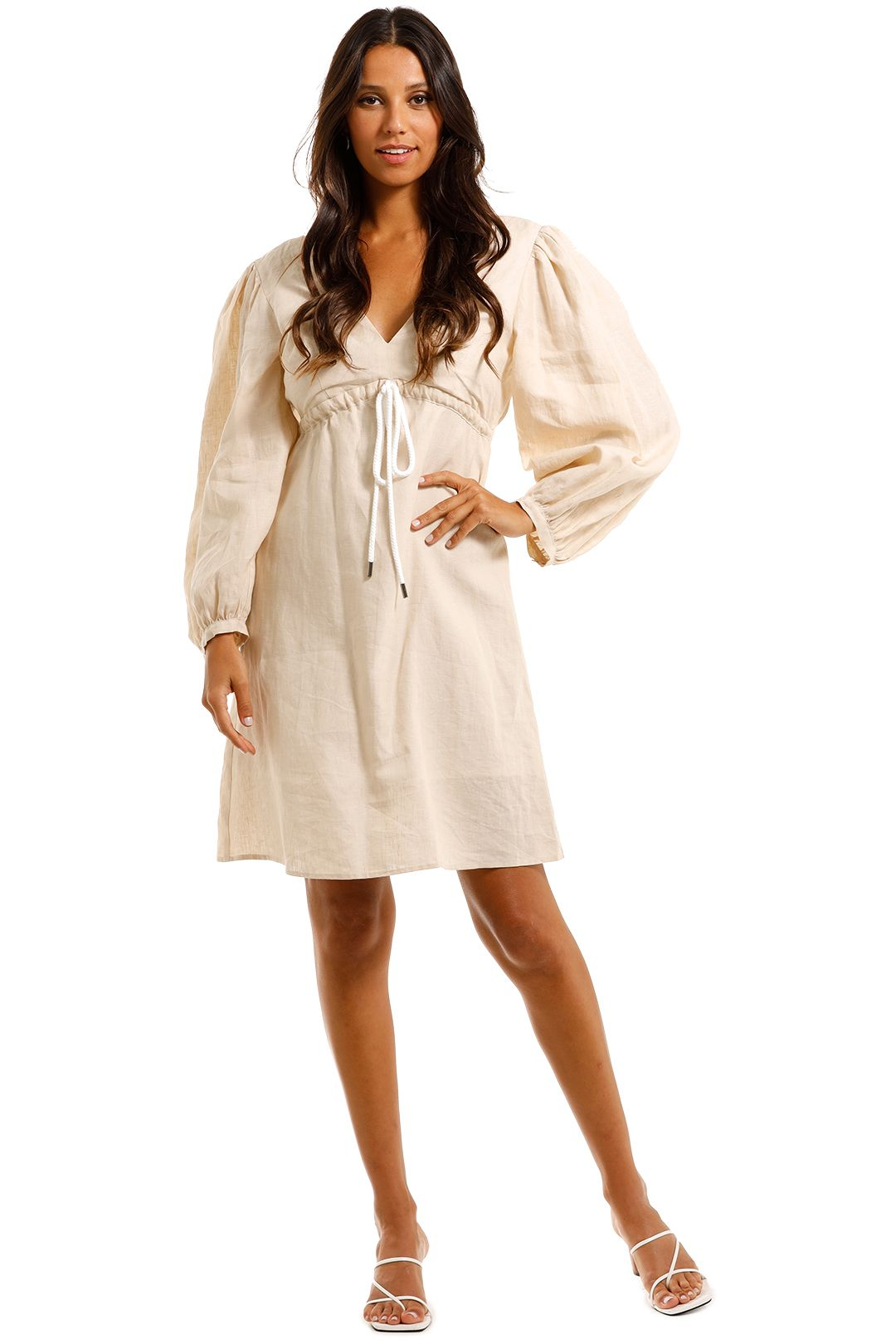 Apartment Clothing Linen Long Sleeve Mini Dress Summer Beige