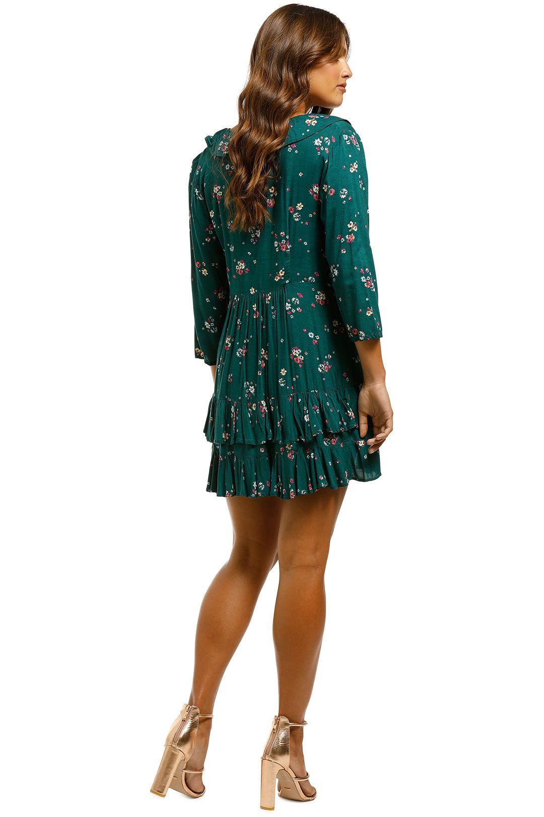 Auguste - Desert Dandelion Grace Mini Dress - Emerald - Back