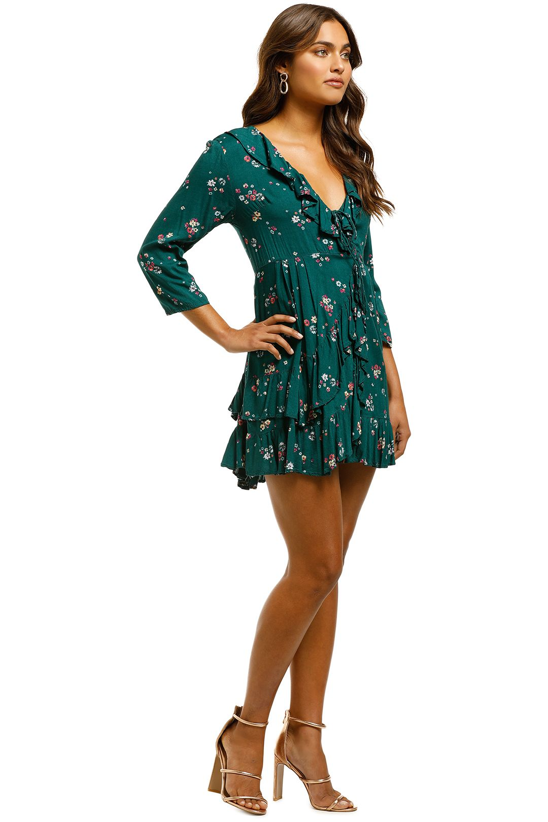 Auguste - Desert Dandelion Grace Mini Dress - Emerald - Side