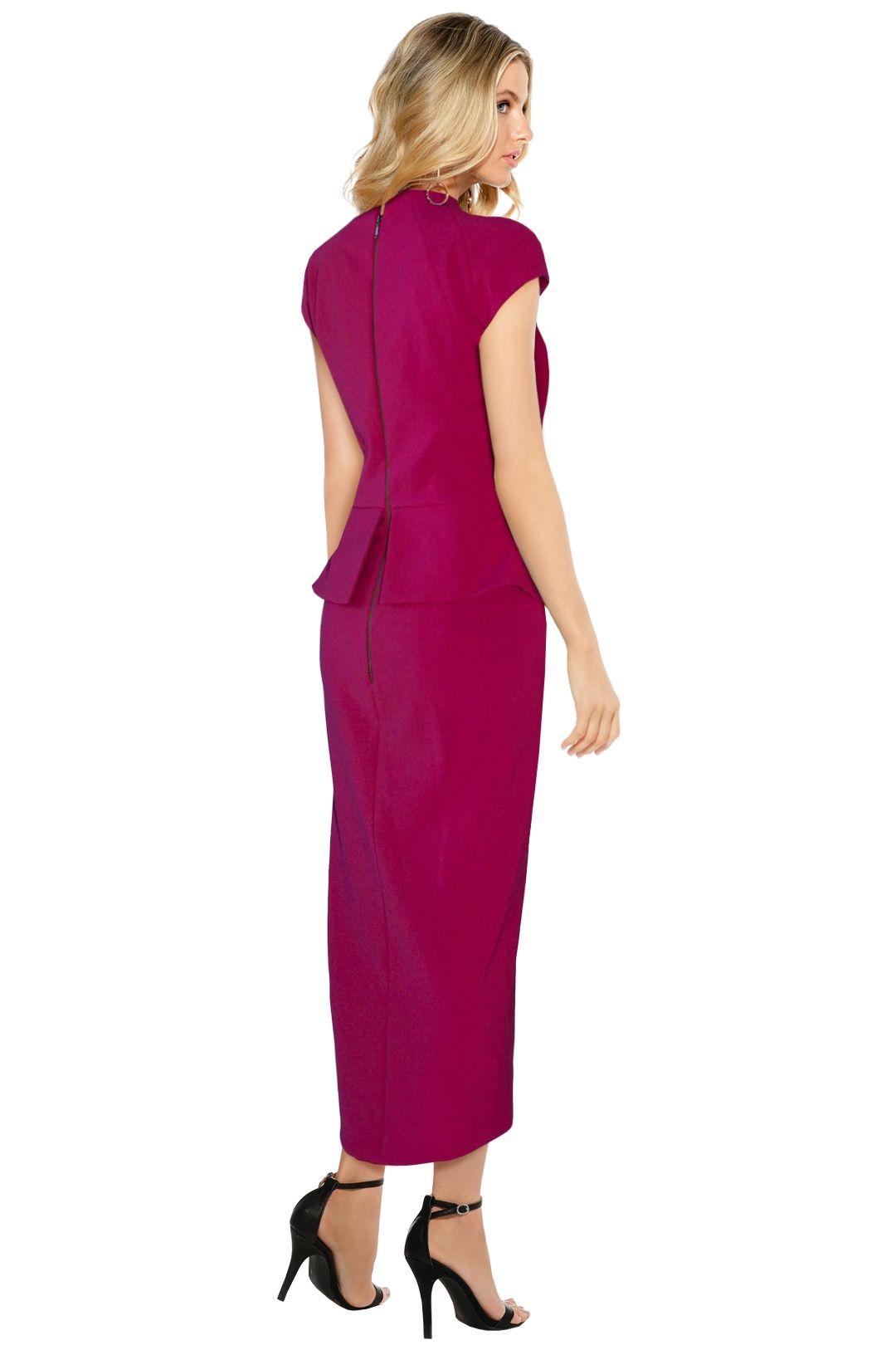Aurelio Costarella - Cubiste Dress - Berry - Back
