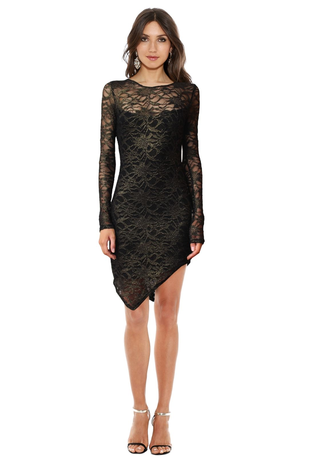 Backstage - Metallic Lace Dress - Black - Front