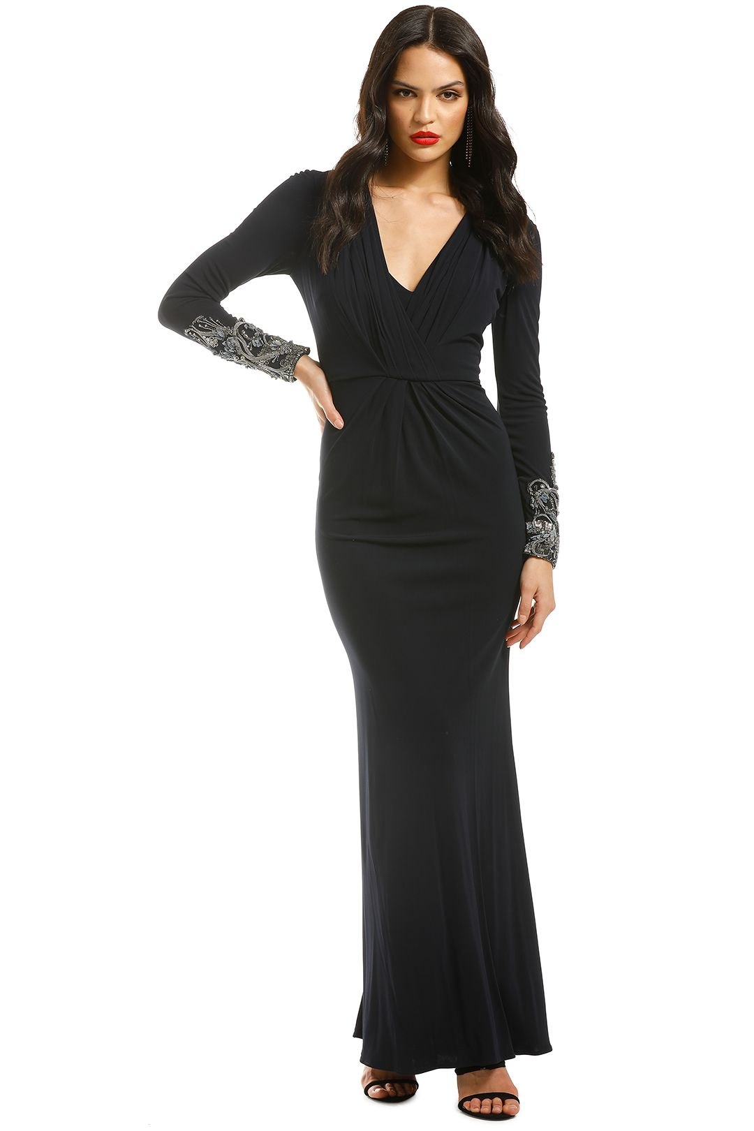 Badgley-Mischka-Navy-Sequin-Long-Sleeve-Embellished-Navy-Front