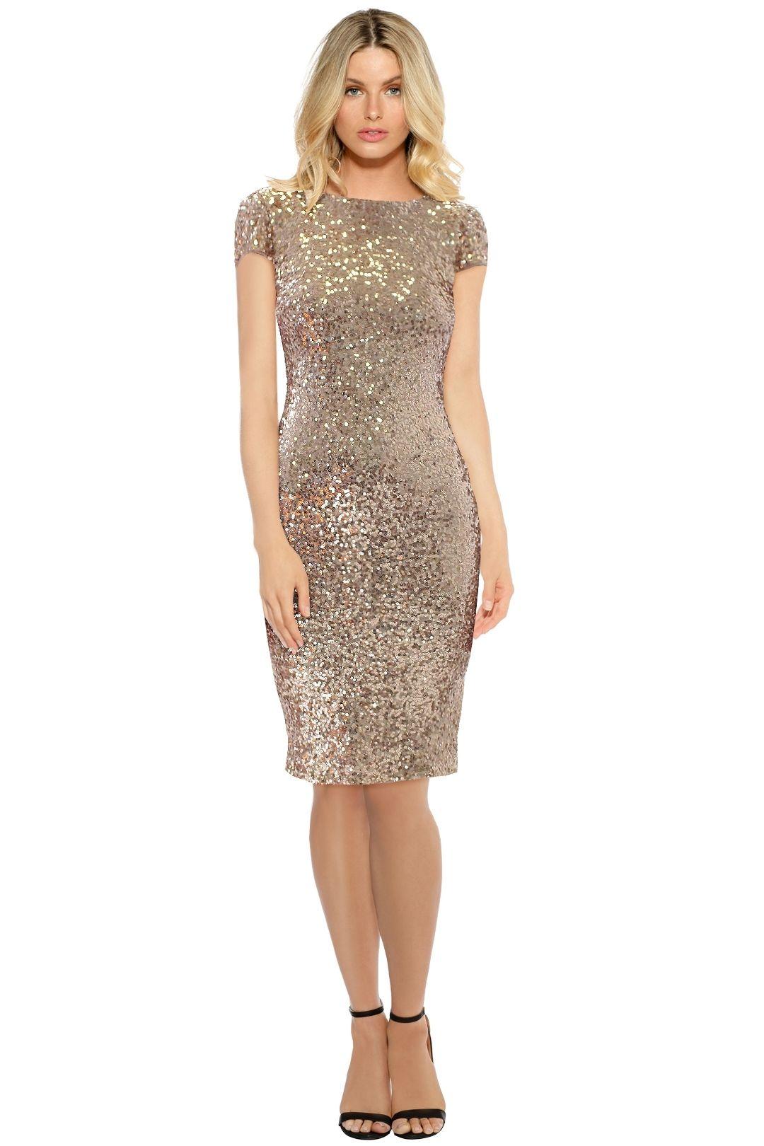 Badgley Mischka - Blush Sequin Cowl Midi Dress - Blush - Front