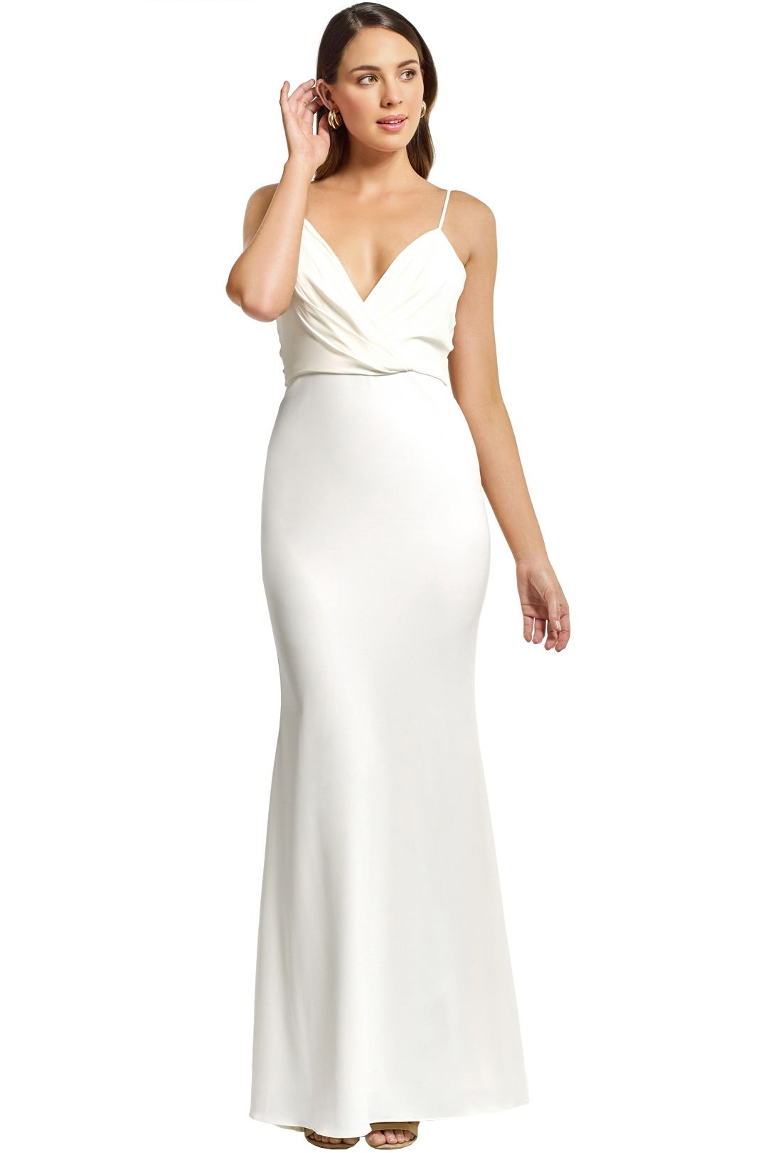 Badgley Mischka - Draped Top Crepe Skirt Gown - Ivory - Front