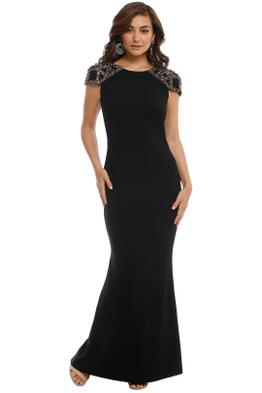 Badgley Mischka - Embellished Gown - Black - Front