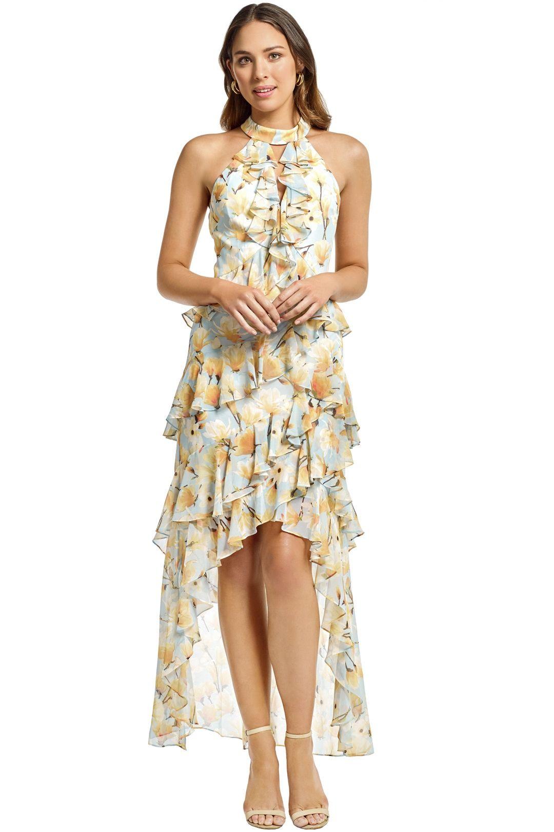Badgley Mischka - Floral Ruffle Halter Gown - Blue - Front