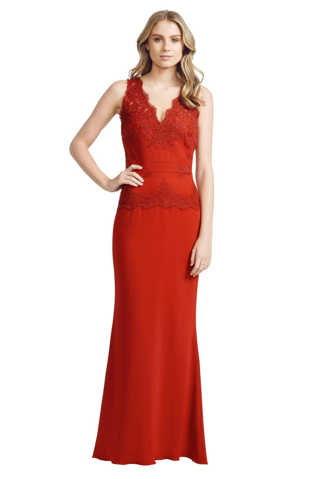 Badgley Mischka - Lace Open Gown - Red - Front