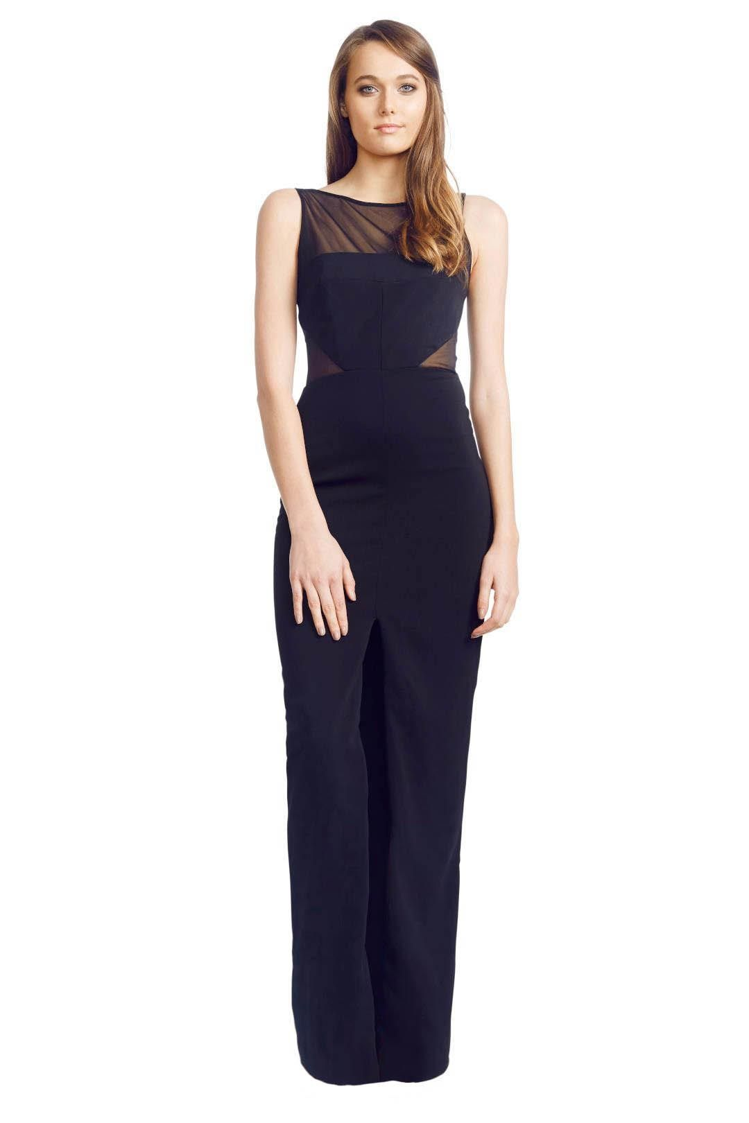 Badgley Mischka - Panel Gown - Black - Front