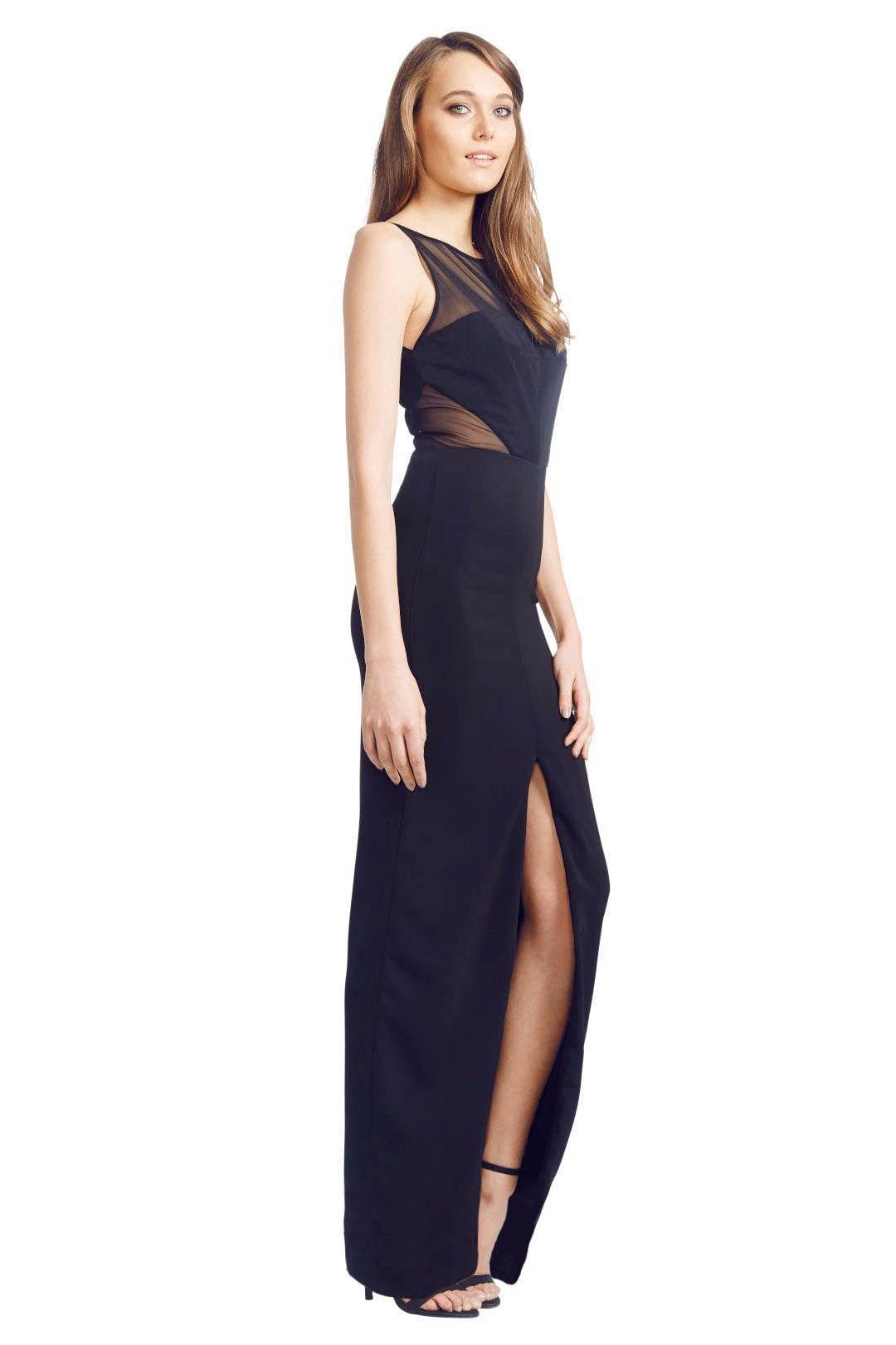 Badgley Mischka - Panel Gown - Black - Side