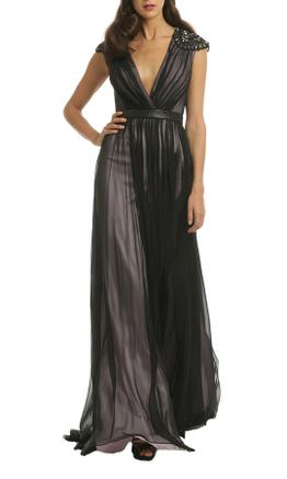 Badgley Mischka - Silk V Neck Gown - Black - Front