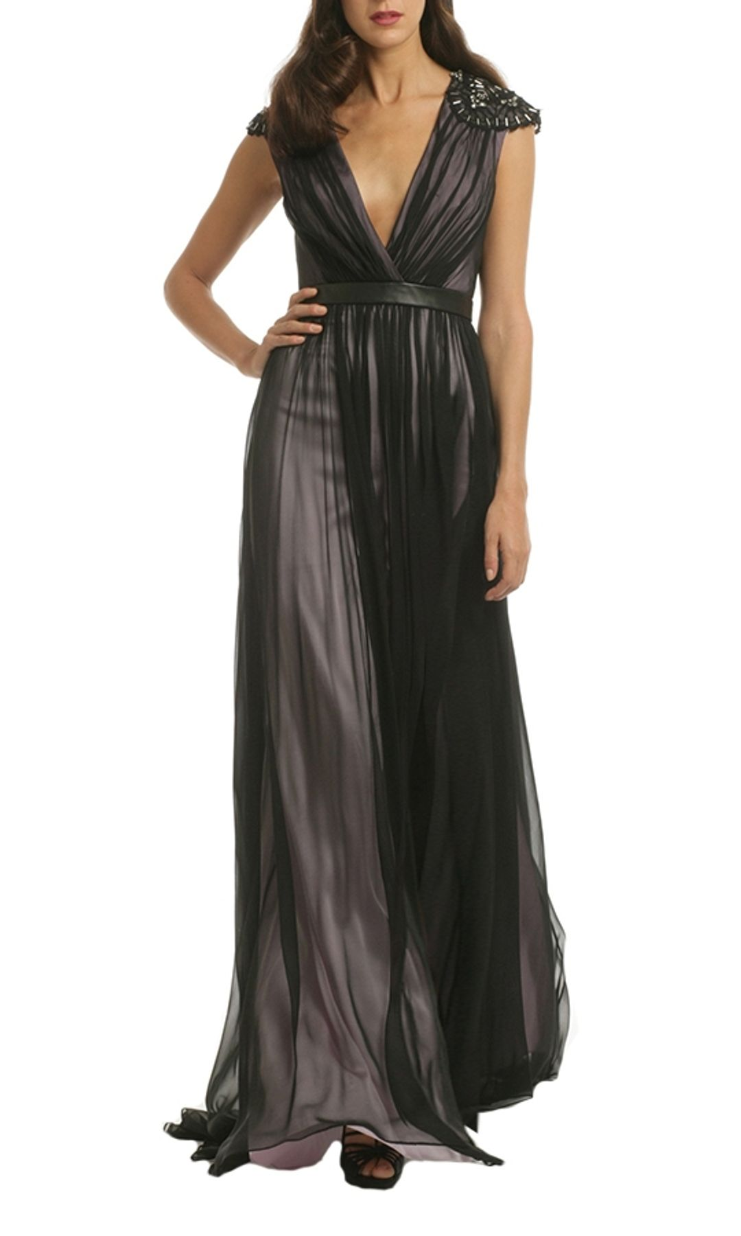 Badgley Mischka - Silk V Neck Gown - Black - Front