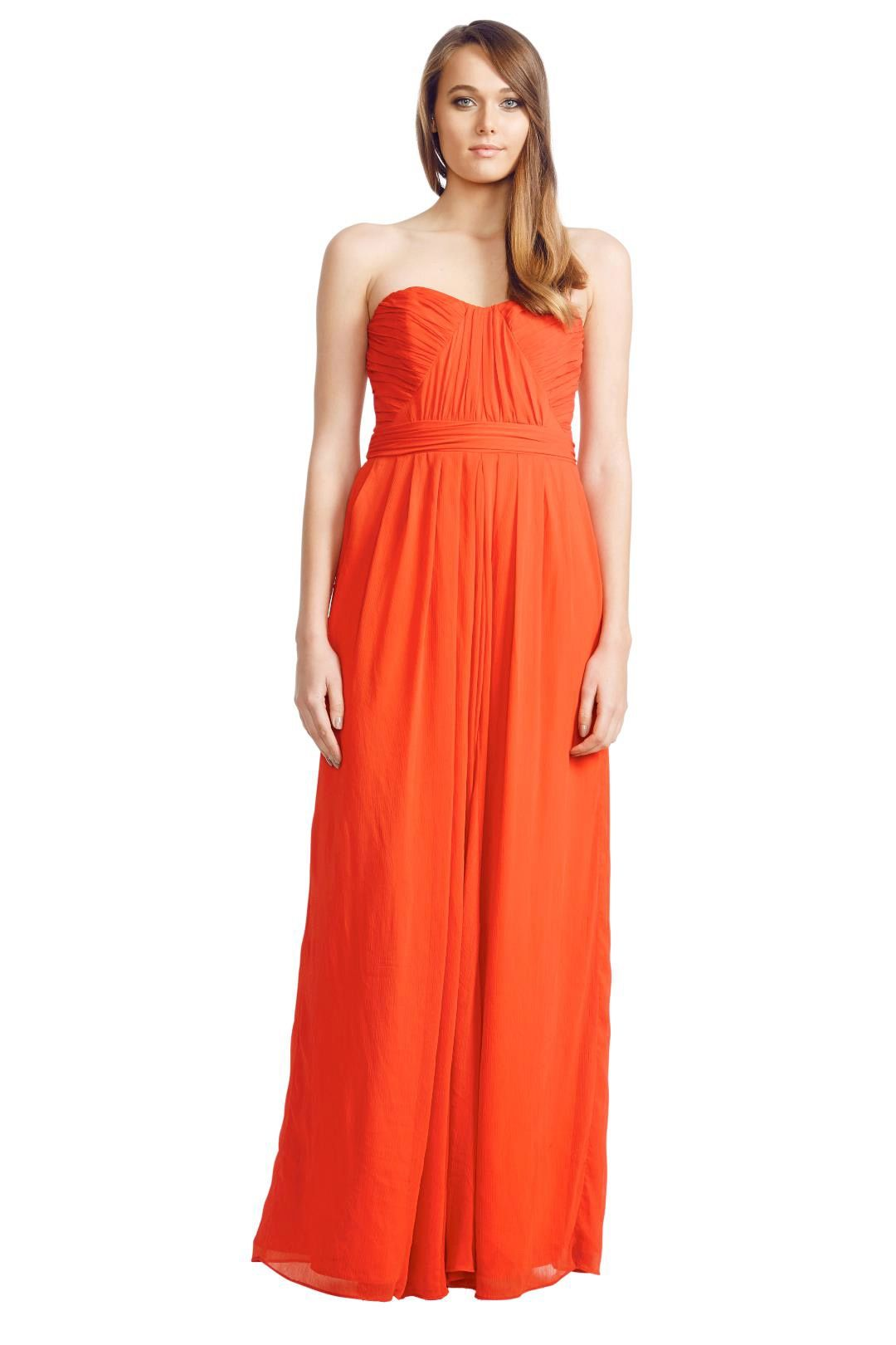 Badgley Mischka - Sweetheart Bodic Gown - Orange Red - Front