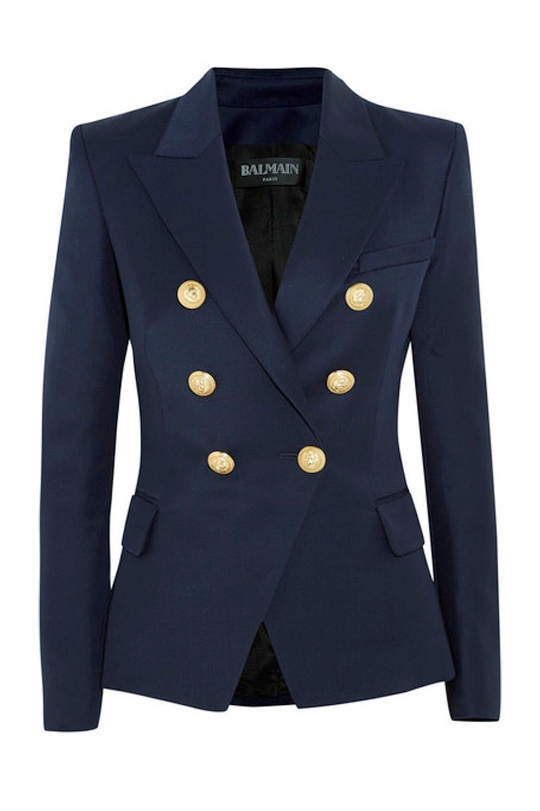 Balmain - Double-Breasted Wool-Twill Blazer - Front