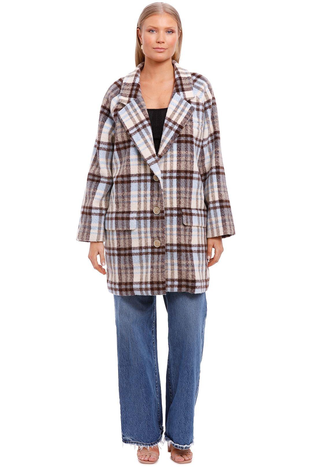 Bande Studio Chloe Check Coat Pale Blue Check Long Sleeve