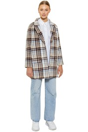 Bande Studio Chloe Check Coat Pale Blue Check Collar