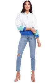Bande Studio Holly Logo Knit Hoodie Blue