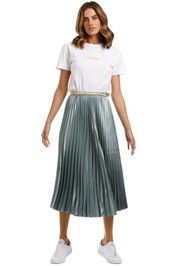 Bande Studio Pleated Satin Skirt