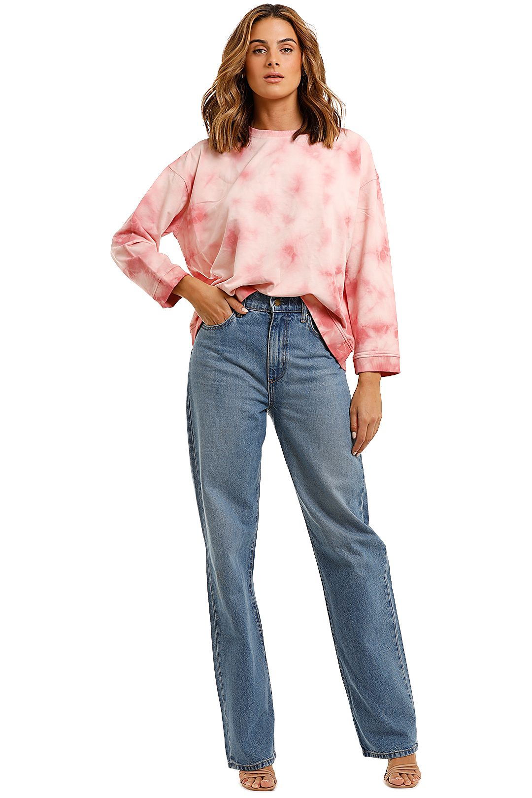 Bande Studio Tie Dye Sweat Fusion Coral long sleeve