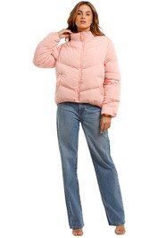 Bande Studio V Line Puffer Jacket pink high neck