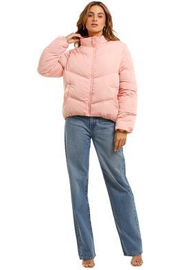 Bande Studio V Line Puffer Jacket pink high neck
