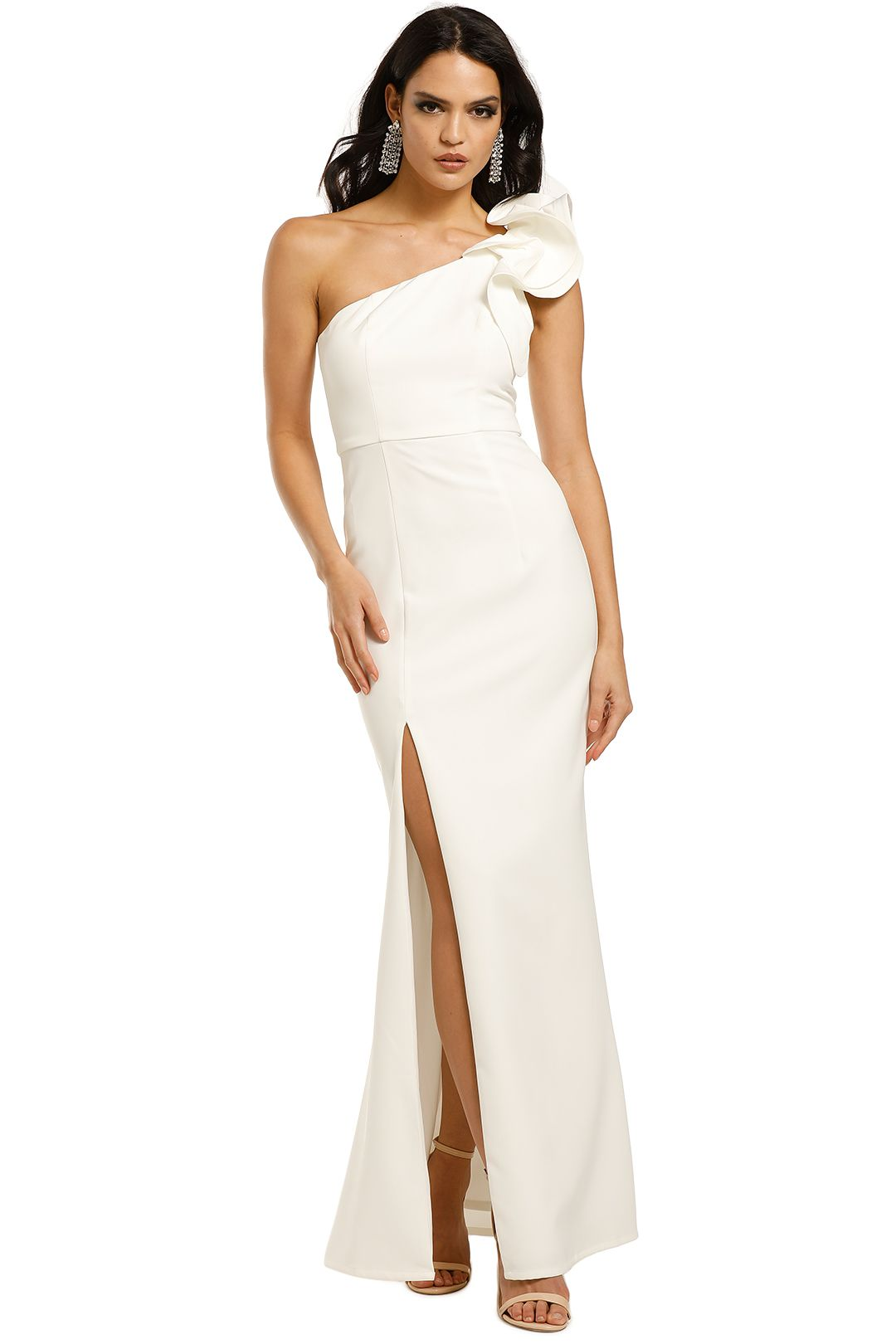 Bariano-Sue-Frill-Gown-White-Front