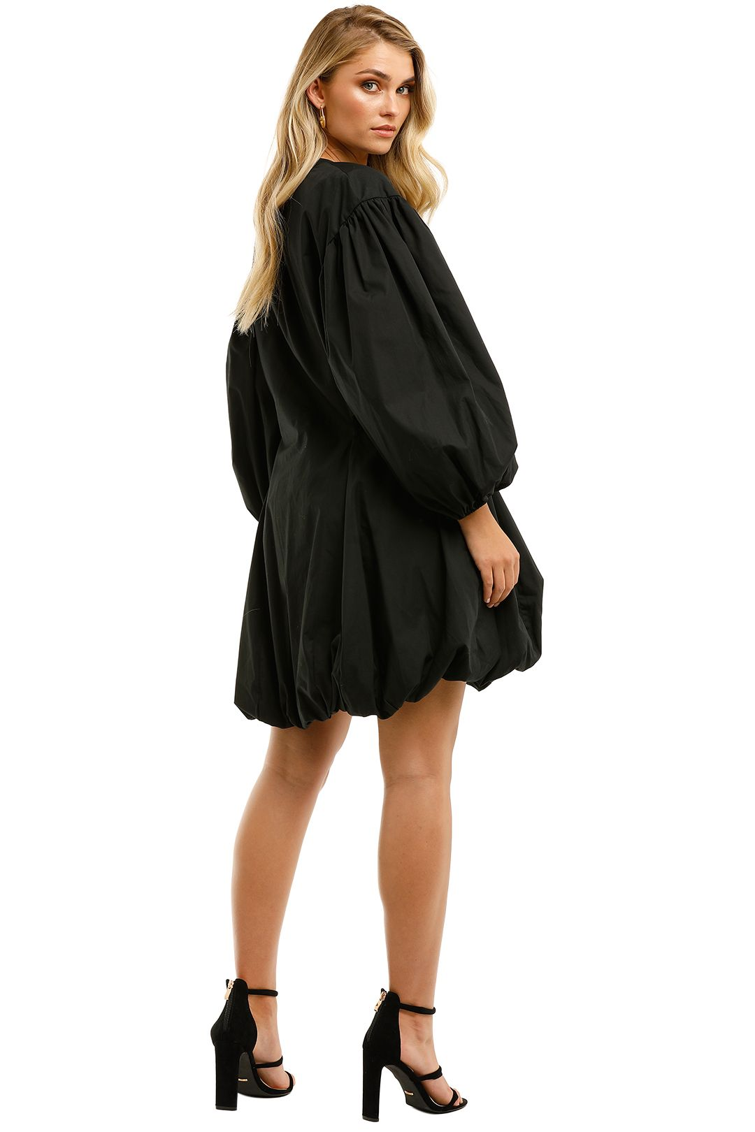 Bassike-Black-Cotton-Gathered-Sleeve-Dress-Black-Back