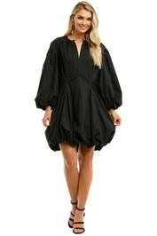 Bassike-Black-Cotton-Gathered-Sleeve-Dress-Black-Front