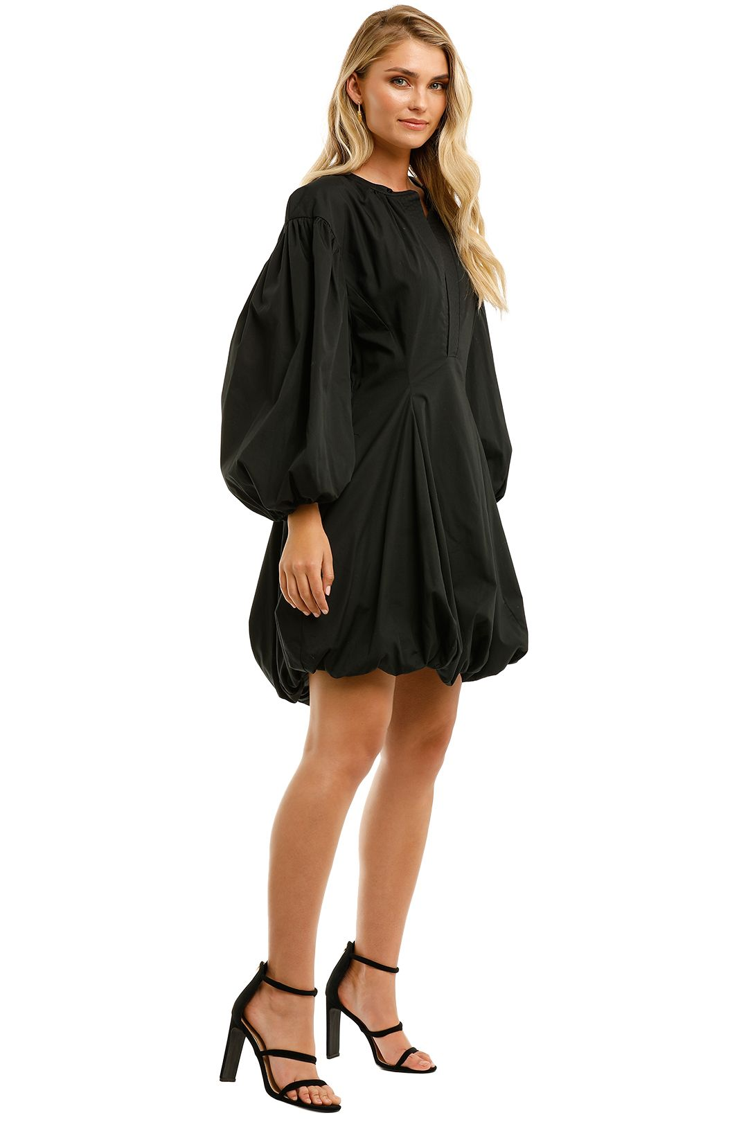 Bassike-Black-Cotton-Gathered-Sleeve-Dress-Black-Side
