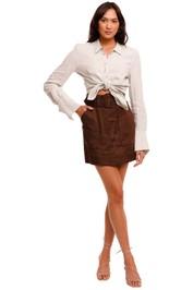 Bassike Contrast Stitch Linen Shirt Sage