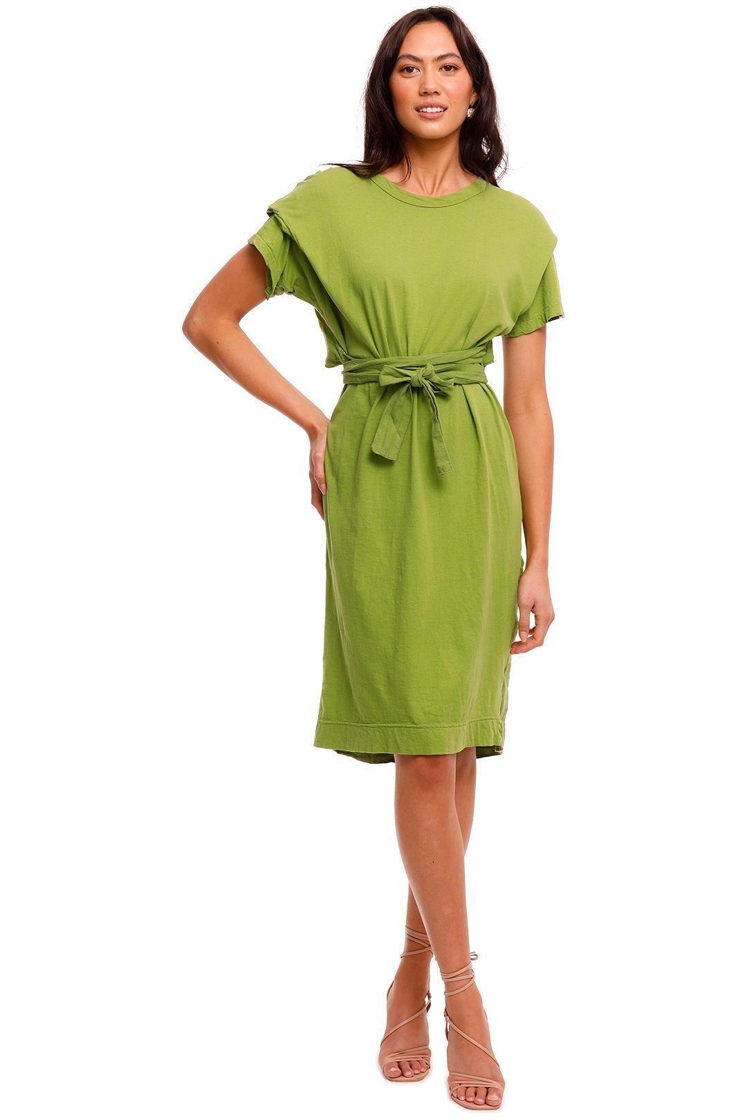 Bassike Open Back Contrast Short Sleeve Dress