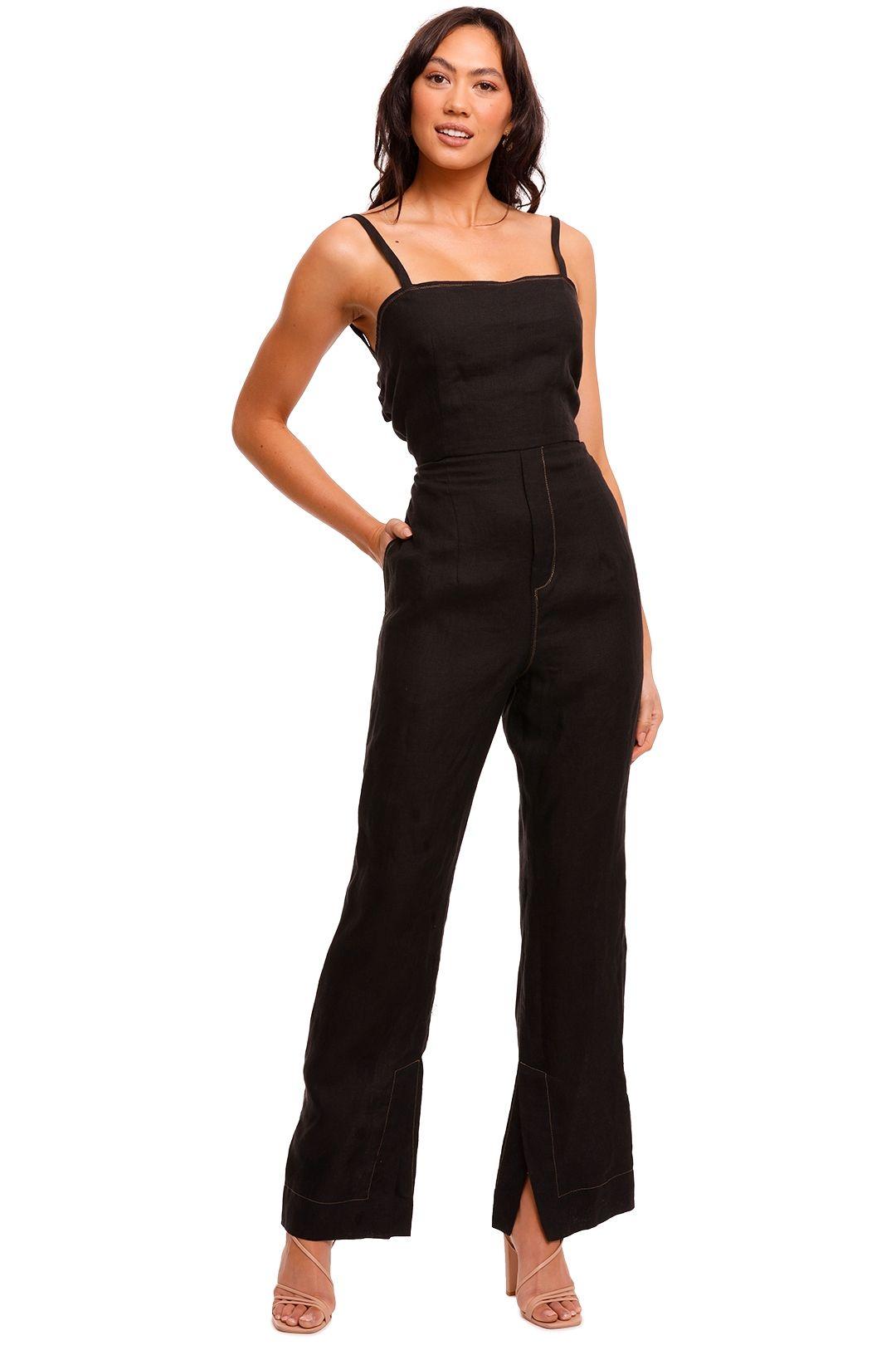 Bassike Tie Back Linen Jumpsuit Black