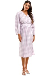 Baum Und Pferdgarten Gathered Checked Seersucker Midi Wrap Dress