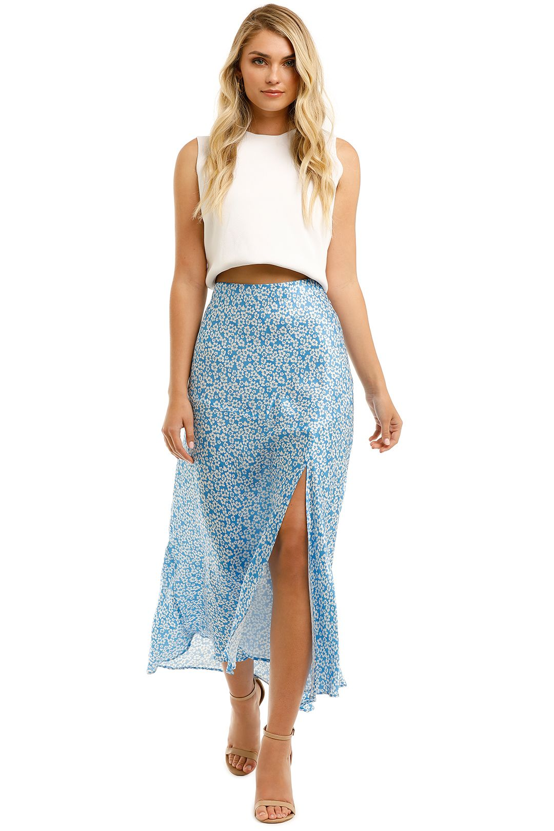 Bec-and-Bridge-Alizee-Midi-Skirt-Blue-Front