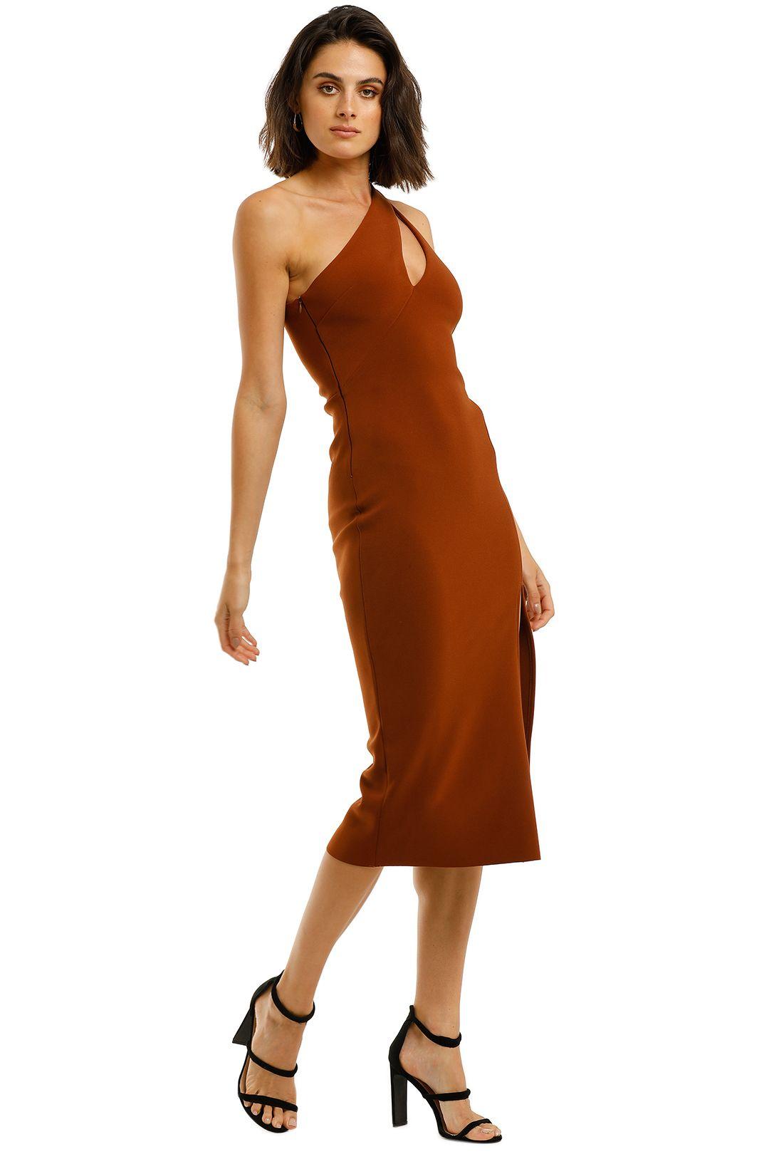 Bec-and-Bridge-Emerald-Avenue-Asymmetric-Midi-Dress-Copper-Side
