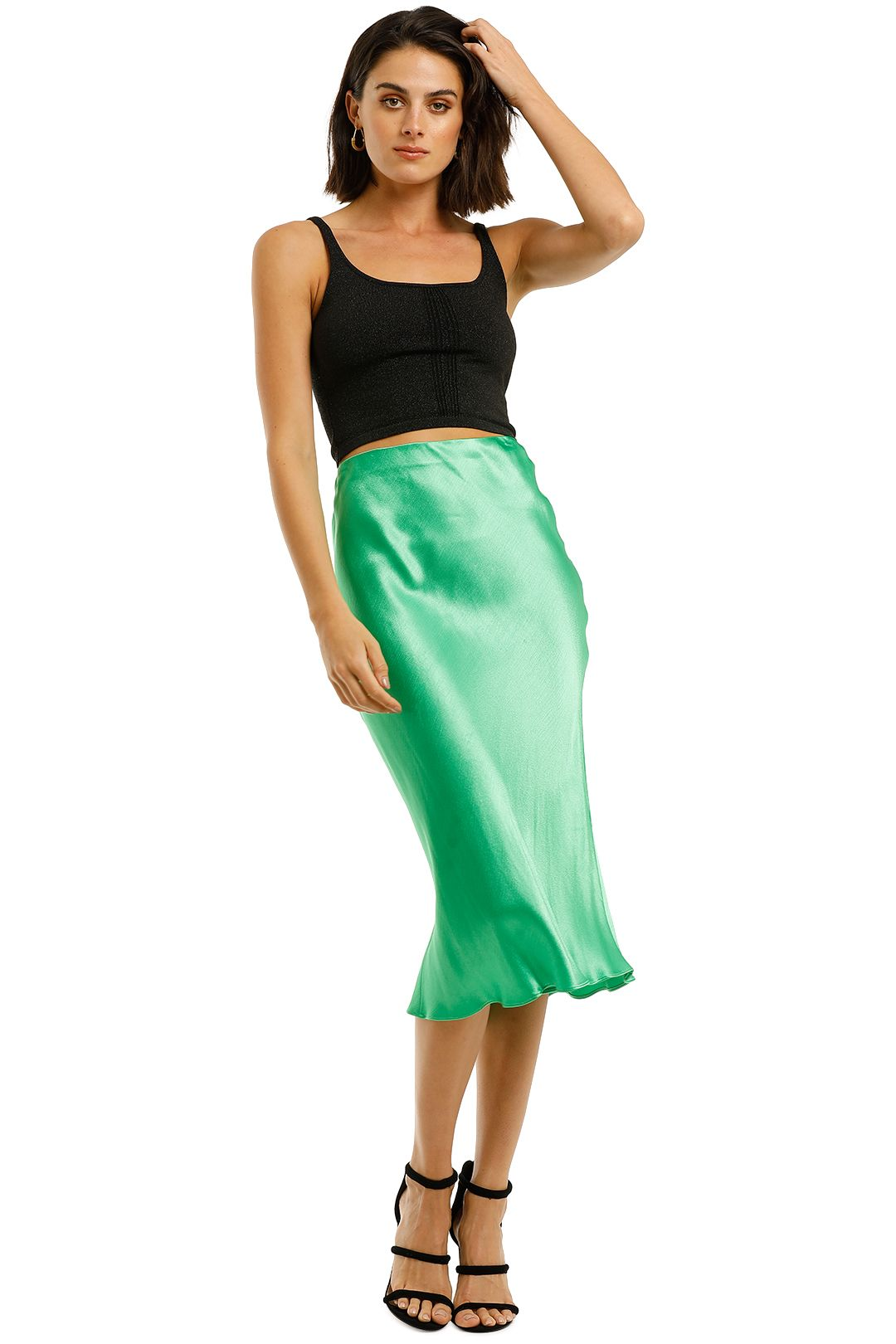 Bec-and-Bridge-Loren-Midi-Skirt-Emerald-Front