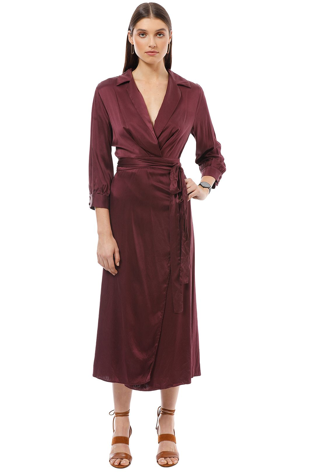 Bec and Bridge - Linda Wrap Dress - Burgundy - Front