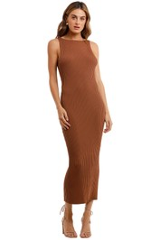 Bec and Bridge Deja Vu Midi Dress Brown bodycon ribbed