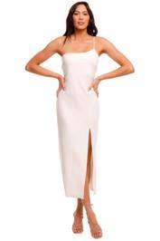 Bec and Bridge Fleur Asymmetric Midi Dress white