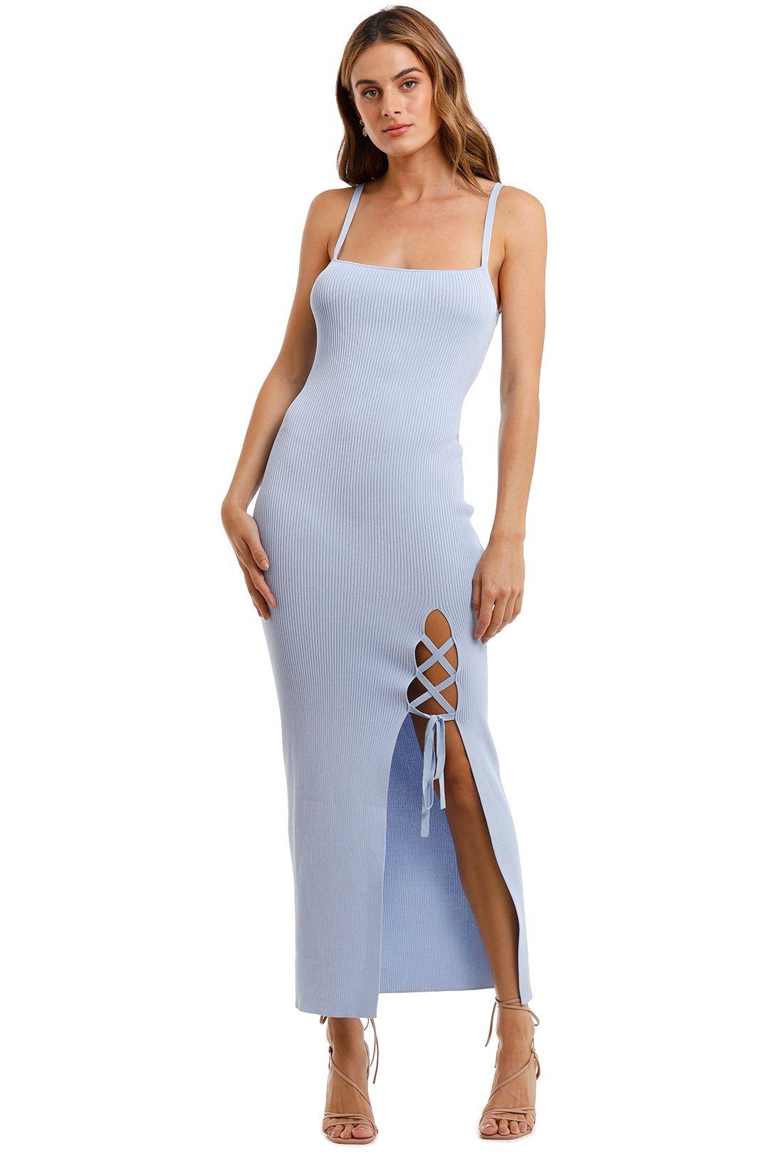Bec and Bridge Lola Sky Blue Midi Dress tie detail