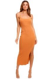 Bec and Bridge Margot Knit Midi Dress Nutmeg orange