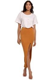 Bec and Bridge Margot Knit Midi Skirt Nutmeg