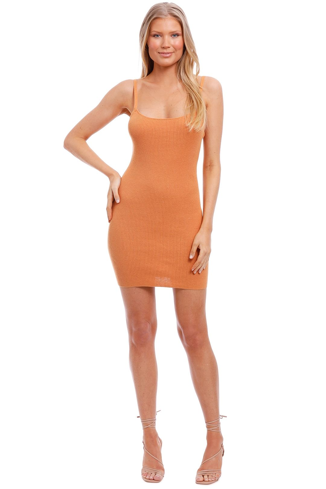 Bec and Bridge Margot Knit Mini Dress Nutmeg brown