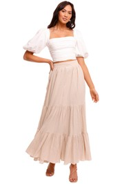 Bec and Bridge Marlowe Maxi Skirt Pumice beige