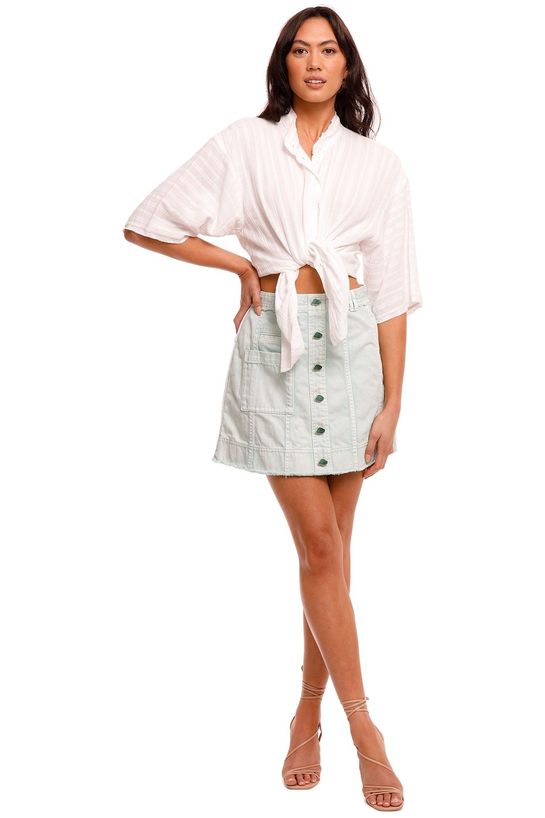 Bec and Bridge Provincial Shirt Ivory relaxed