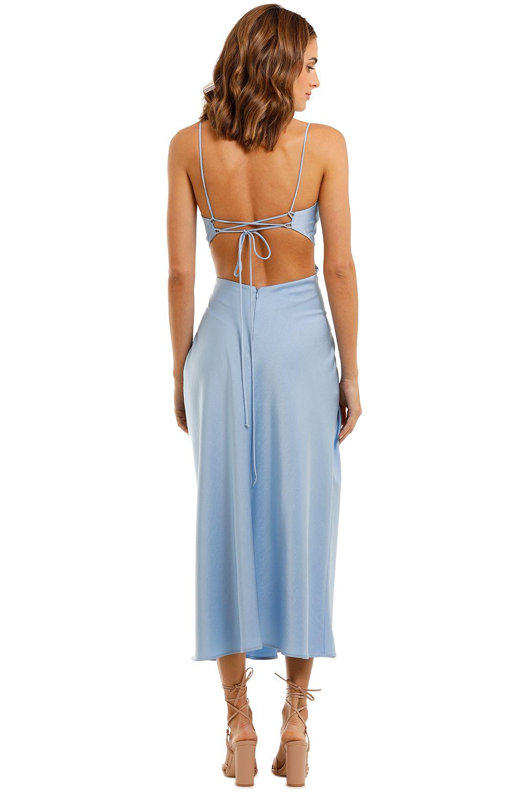 Bec and Bridge Raquel Baby Blue Midi Dress Backless