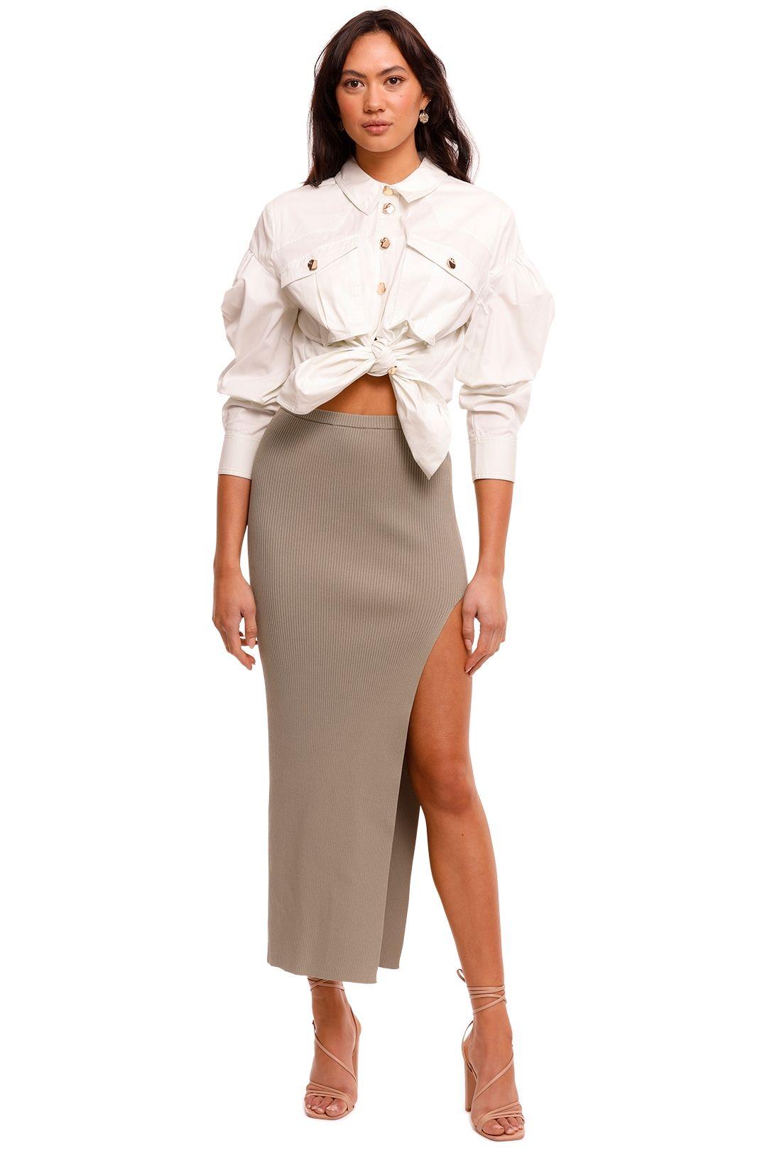 Bec and Bridge Versailles Knit Split Midi Skirt bodycon