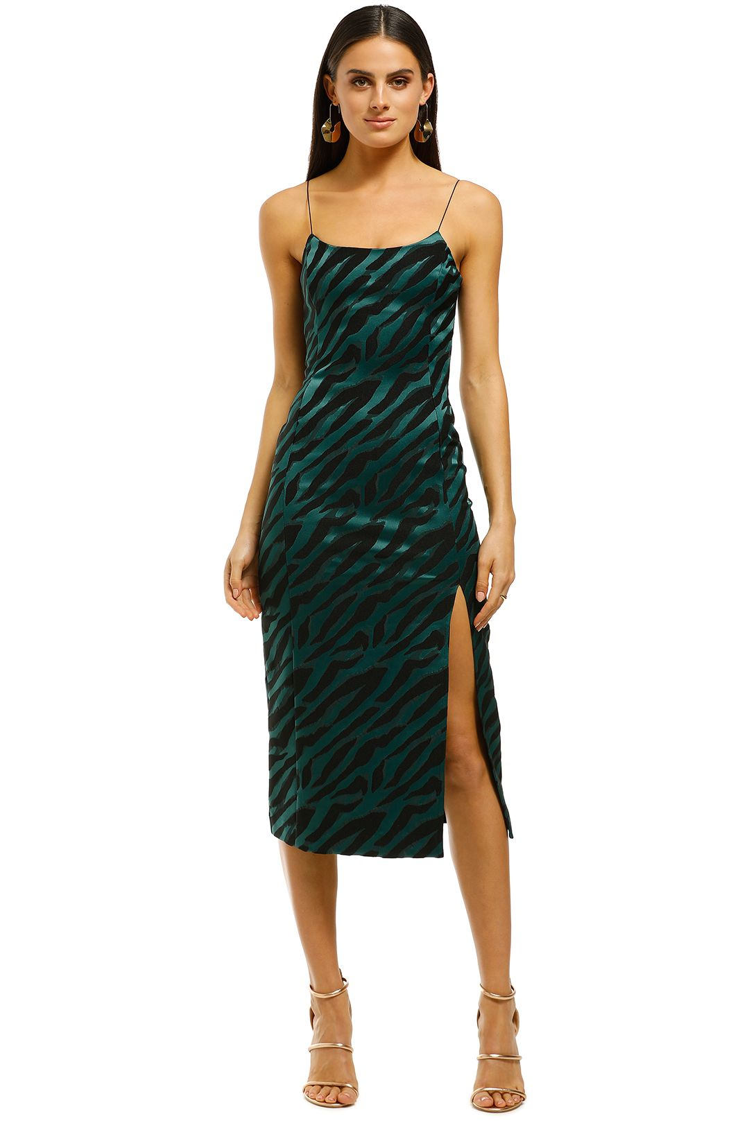 Bec+Bridge-Discotheque-Midi-Dress-Emerald-Zebra-Front